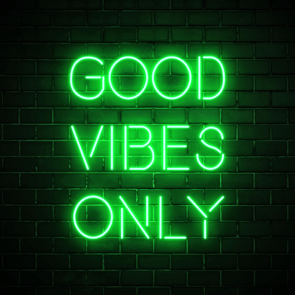 Good Vibes Only LED green neon sign wall art for interior