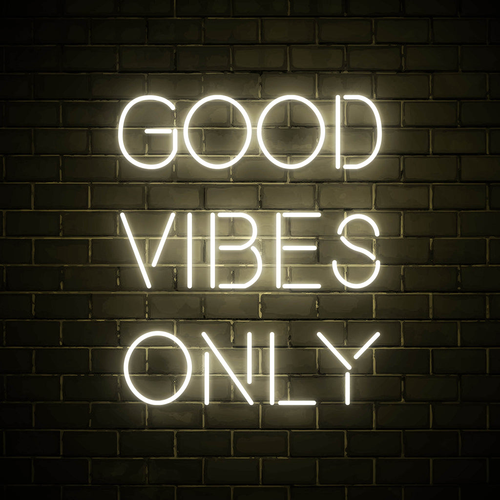 Good Vibes Only LED white neon sign wall art for interior