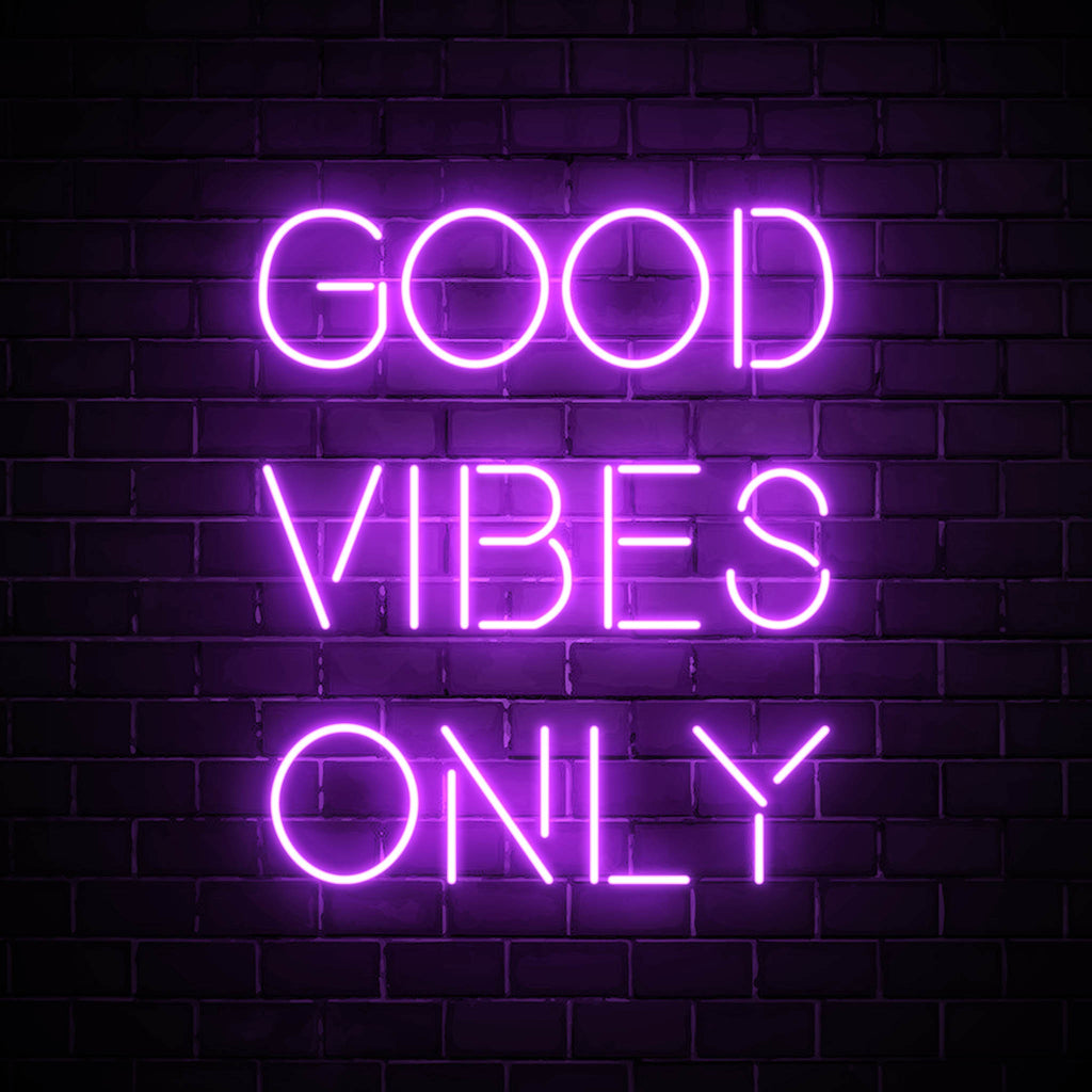 Good Vibes Only LED purple neon sign wall art for interior