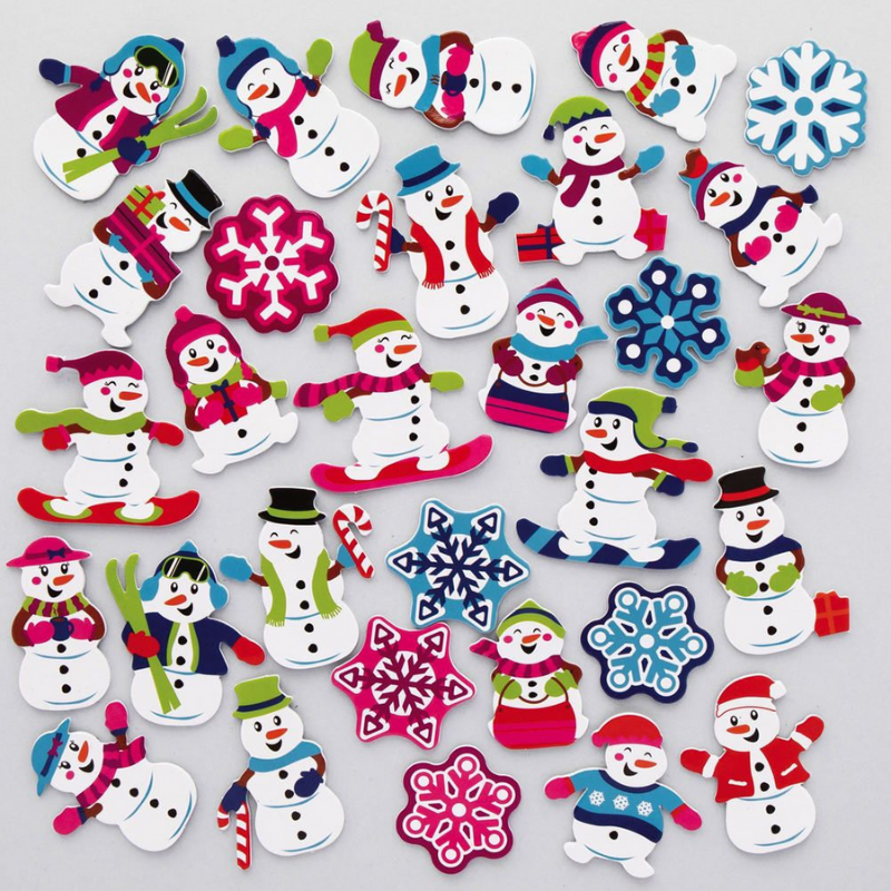 Kid-Eco Snowman Stickers - Pack of 200