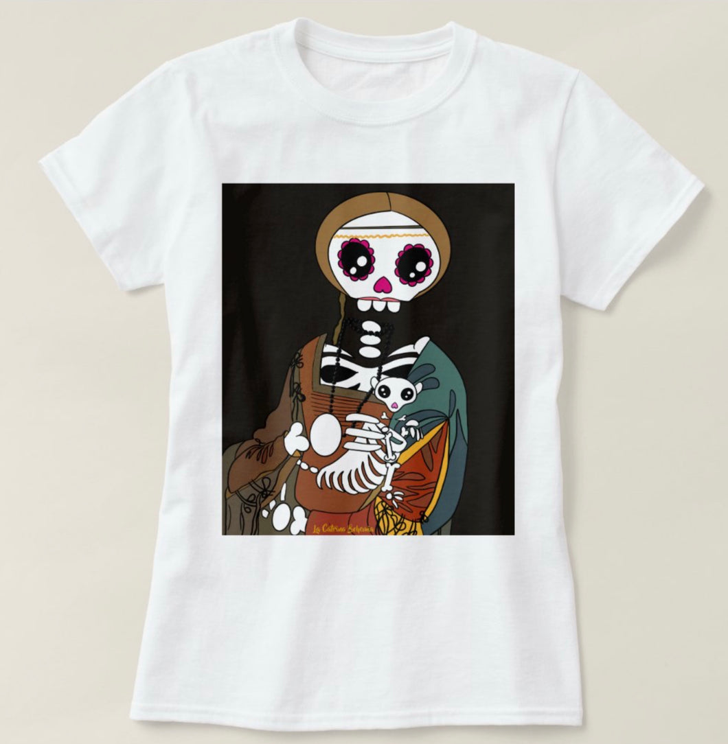 White T-shirt Catrina Bohemia Lady with an ermine
