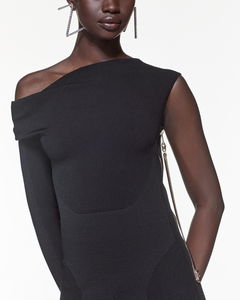 Asymmetric Sleeve Dress - Black