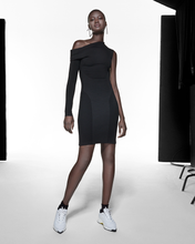 Load image into Gallery viewer, Asymmetric Sleeve Dress - Black