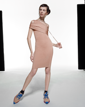 Load image into Gallery viewer, Asymmetric Wrap Dress - Beige