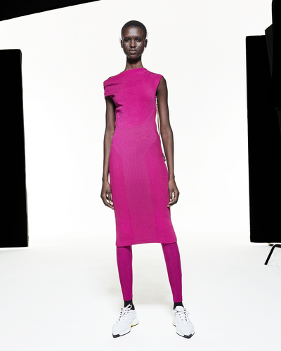 Asymmetric Twist Dress - Fuchsia