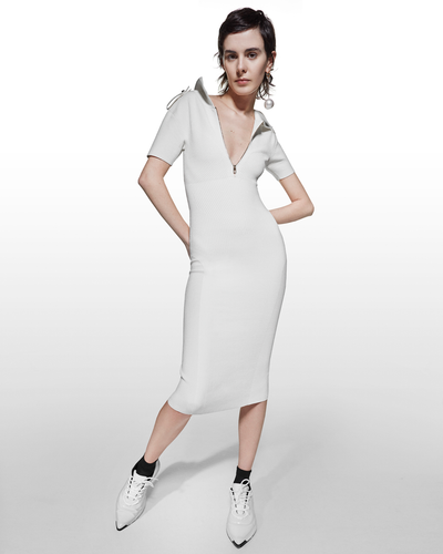 Polo Collar Dress - White