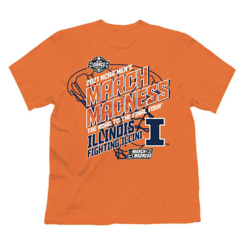 flat image of the official illinois basketball march madness t-shirt from the illini store