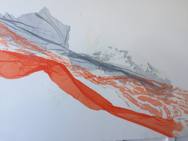 Abstract Washi Art painting in Orange and Grey