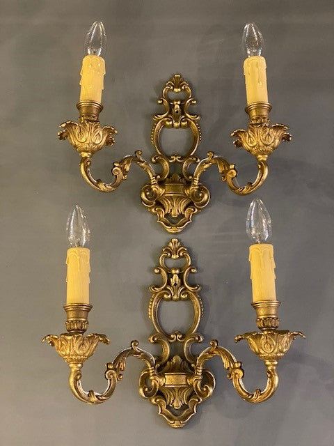 A Gorgeous Pair of Heavy Brass Decorative Vintage Double Wall Lights