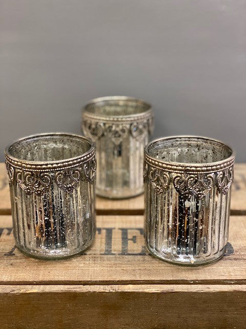 Beautiful Distressed Silver and Glass Candle Holder