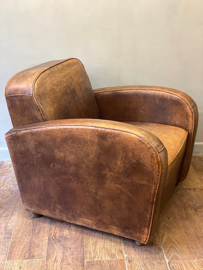 Distressed Vintage Leather Chair