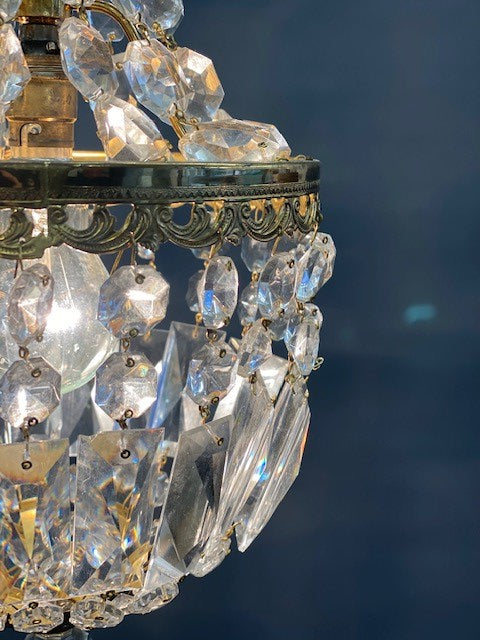 A Stunning Tent and Bag Style Vintage Crystal Chandelier