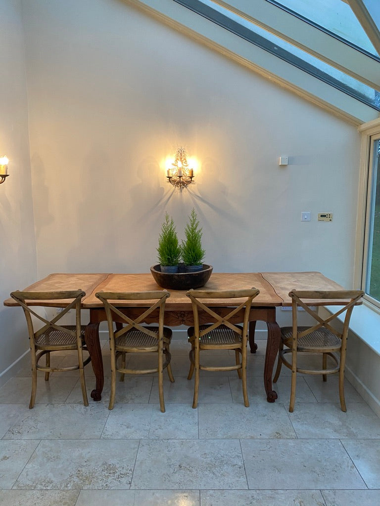 French Louis XV Style Parquet Top Extending Dining Table