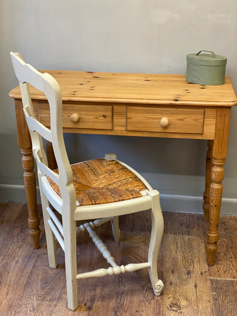 Small Pine Console Table with 2 drawers
