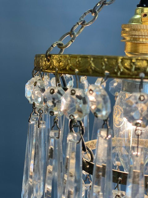 A Stunning 2 Tier Vintage Waterfall Crystal Chandelier