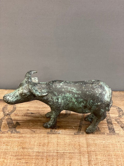 A Cute Metal Water Buffalo with Green Verdigris Finish