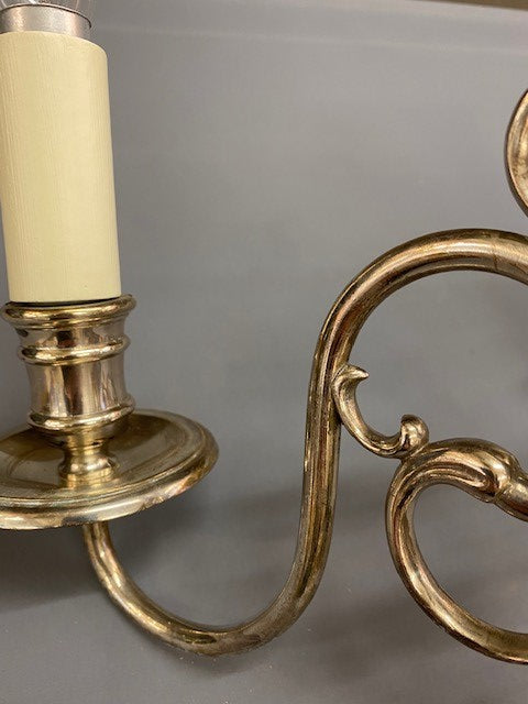 A Stunning Pair of Vintage Silver Plate Double Wall Lights
