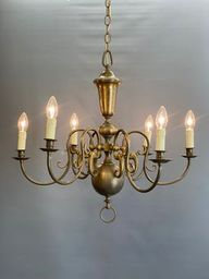 An Impressive and Stylish Antique Brass 6 Arm Chandelier