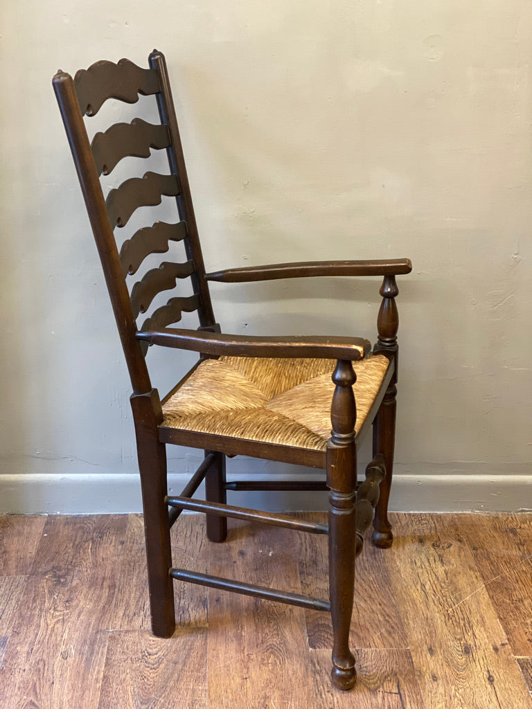 Traditional Ladderback Carver Chair with Rush Seating