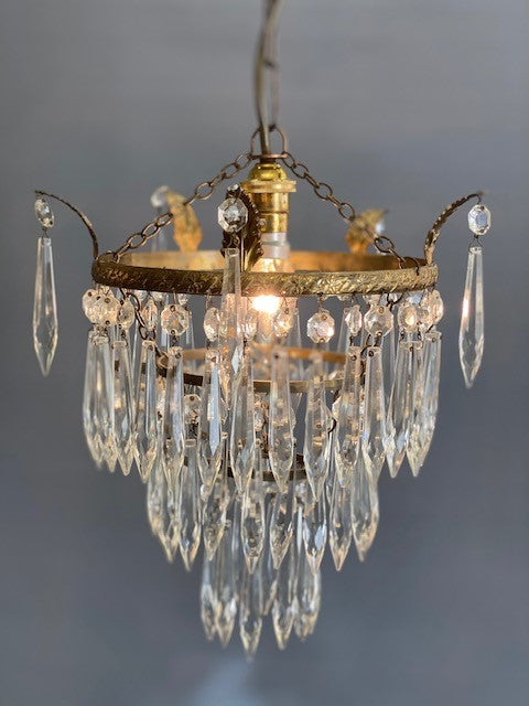 A Fabulous 3 Tier Vintage Waterfall Crystal Chandelier with Gilt Leaves