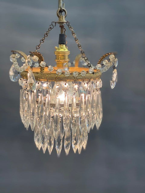 A Gorgeous 2 Tier Vintage Waterfall Crystal Chandelier with Gilt Leaves and Glass Beads