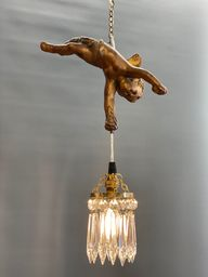 A Beautiful Gesso Cherub with Small Crystal Chandelier