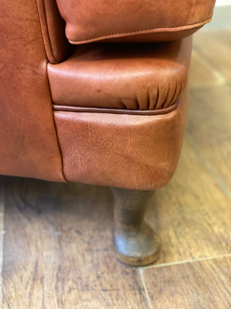 Large Leather Wingback Armchair with stud detail