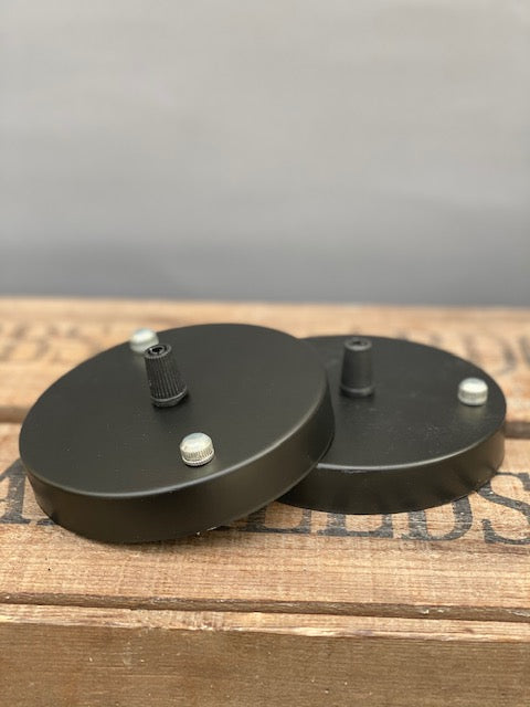 Black Ceiling Rose with Chrome Screws and Cable Strain