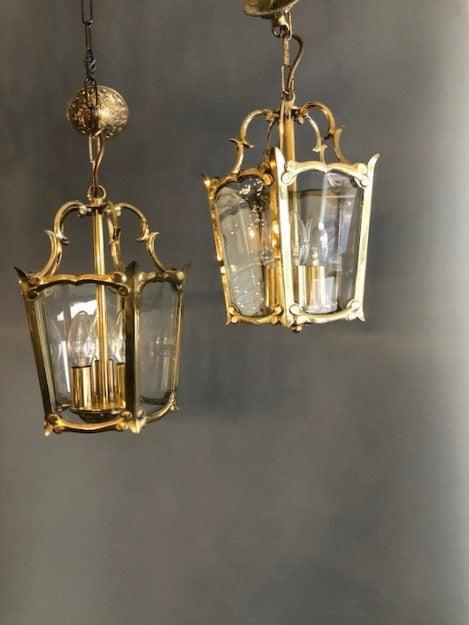 Heavy Brass and Glass Lantern