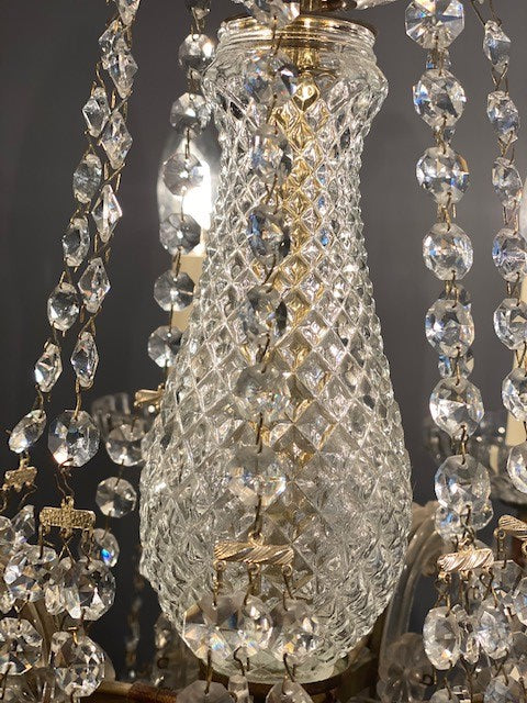 A Stunning 8 Arm Vintage Crystal Chandelier