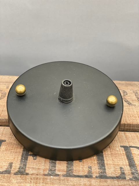 Black Ceiling Rose with Brass Screws and Cable Strain