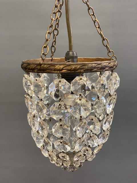 A Beautiful Small Brass and Crystal Vintage Bag Chandelier
