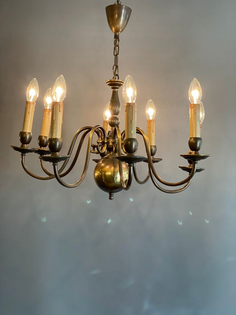 A Lovely Old  Heavy Brass 8 Arm Chandelier