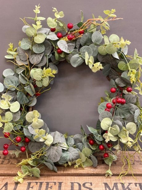 Gorgeous Faux Christmas Wreath with Red Berries