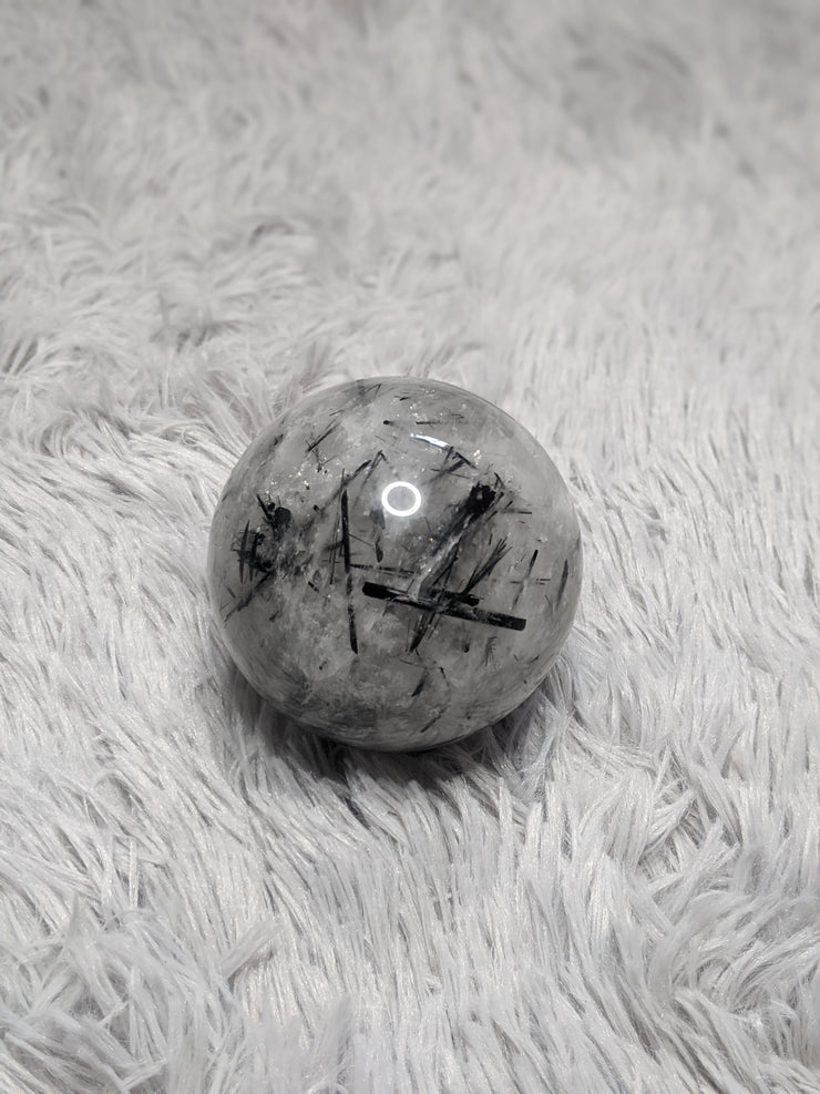 Tourmalinated Quartz Sphere