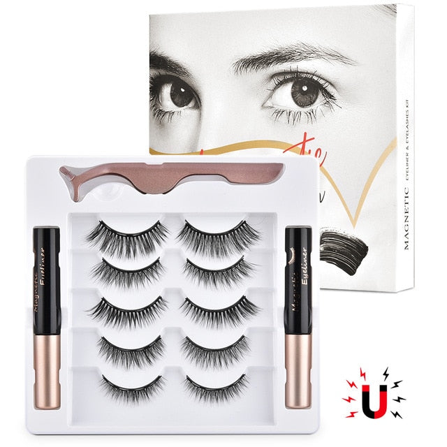 5 Pairs Magnetic Eyelashes Kits Upgraded with Double Eyeliner Reusable Cuttable Waterproof Natural Eye Lashes With Applicator