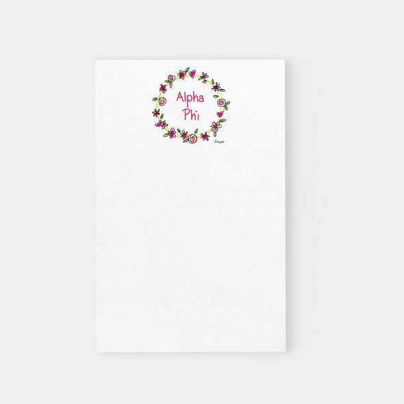 Alpha Phi Flower and Heart Wreath Sorority Notepad