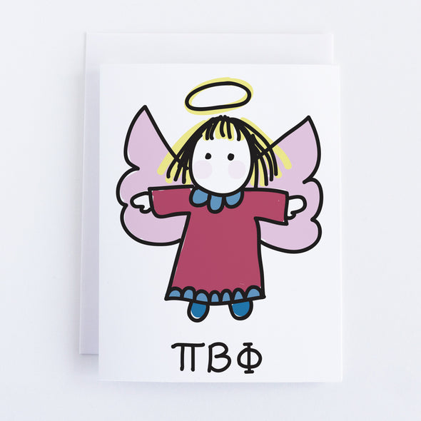 PI Beta Phi Angel with Greek Letters Sorority Notecard Set