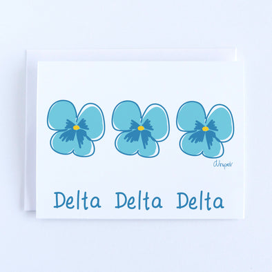 Delta Delta Delta Pansies Sorority Notecard Set