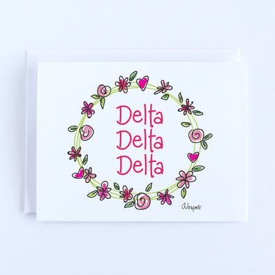 Delta Delta Delta Flower and Heart Wreath Sorority Notecard Set