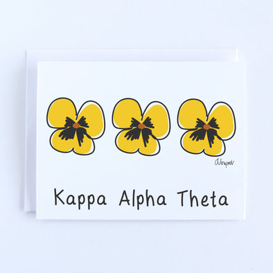 Kappa Alpha Theta Pansies Sorority Notecard Set