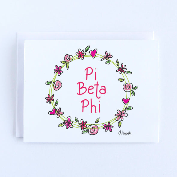 Pi Beta Phi Flower and Heart Wreath Sorority Notecard Set