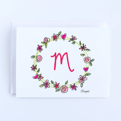 Personalized Initial Flower and Heart Wreath Notecard Set