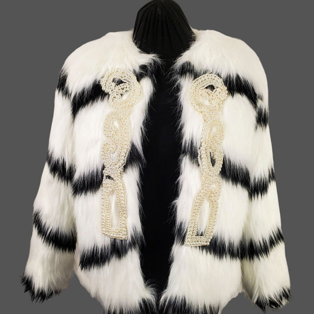 black and white faux fur coat with pearl details open front view on mannequin