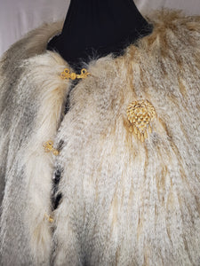 Vintage gold hooks with broach on faux fur cape