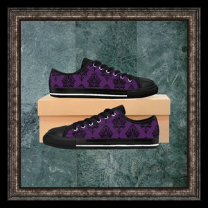 purple and black damask sneakers on box