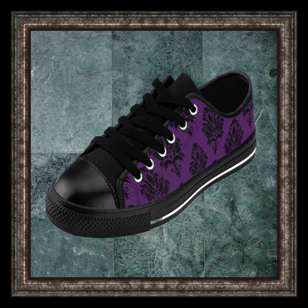 purple and black baroque sneakers in marble frame