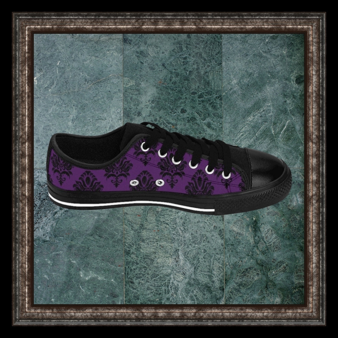 side view of purple and black rococo sneakers in marble frame