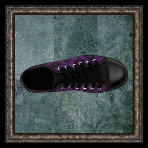 gothic baroque black and purple damask brocade print canvas sneaker in marble frame
