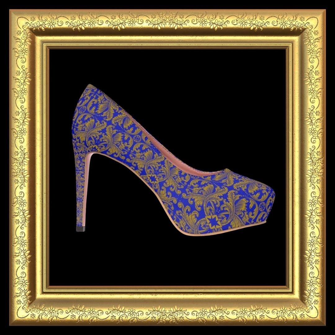 blue and gold high heel
